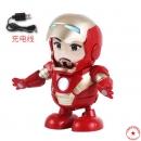 钢铁侠跳舞机器人 抖音同款跳舞钢铁人Q版灯光音乐 电动地摊玩具